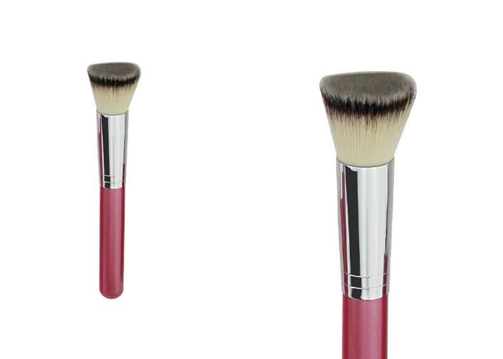 Flat Top Powder Foundation Brush With Nylon Hair Wooden Handle Metal Ferrule