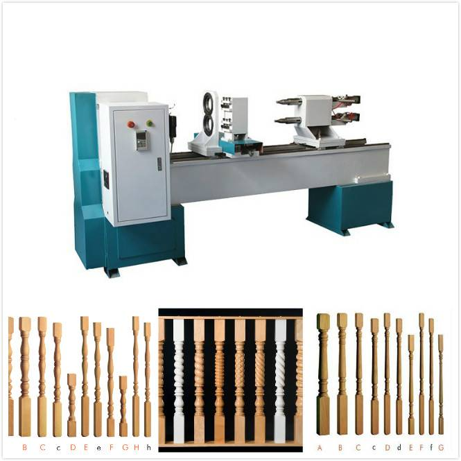 two axis baseball bat cnc wood turning lathe