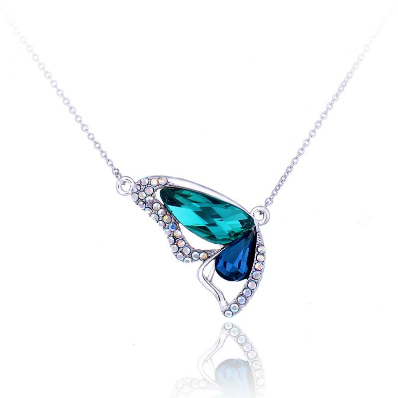 Fashion Butterfly Crystal Pendant Necklace Jewelry Wholesale in China