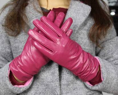 2015 new product winter warm lady design sheep leather fashion glove