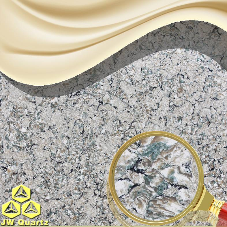 JW-6806 Childhood-Green color mixed Quartz Stone Slab for Countertop