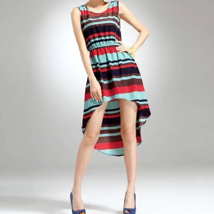 Ladies' yarn dyed stripe cotton spandex jumper skirt