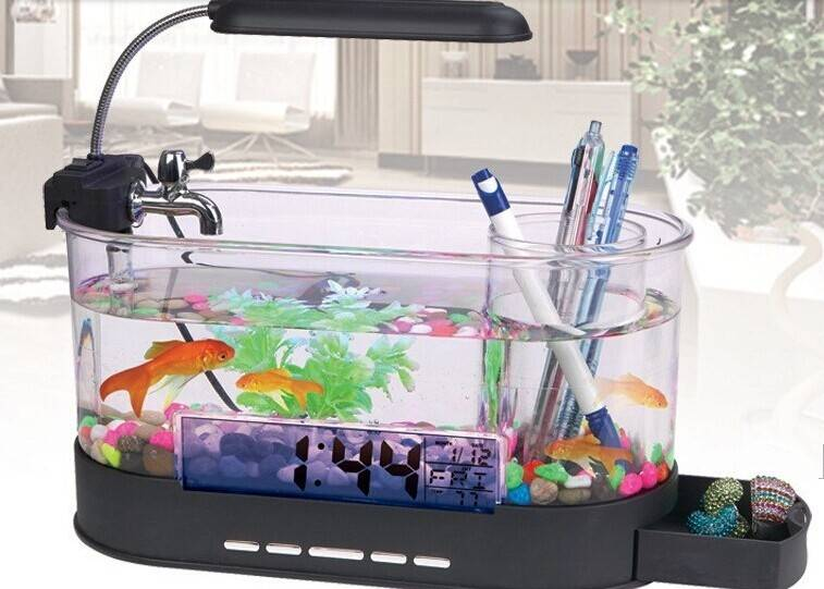 Mini All-in-1 USB Destop Aquarium Fish Tank with LED Light