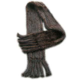 Mink Fur Knitted Scarf