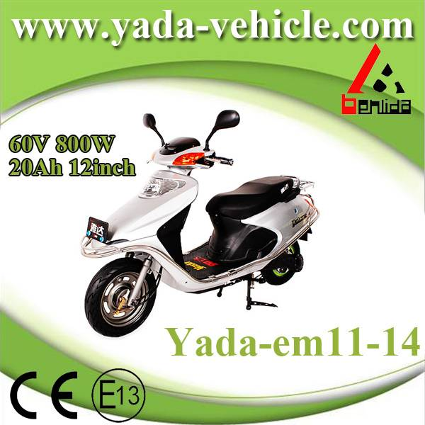 60v 800w 20ah 12inch drum disc brake mini sport style electric scooter motorcycle (yada em11-14)
