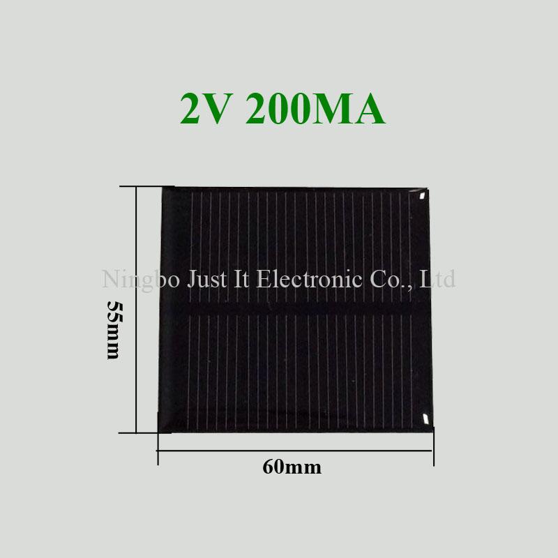 2V 200mA 0.4W 60x55mm Mini Epoxy Solar Panel