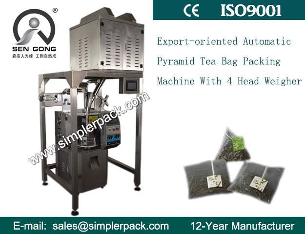 Hot Sell Triangle/Pyramid Nylon Tea Packaging Machinery (with Outer Bag) with 4 Weighers