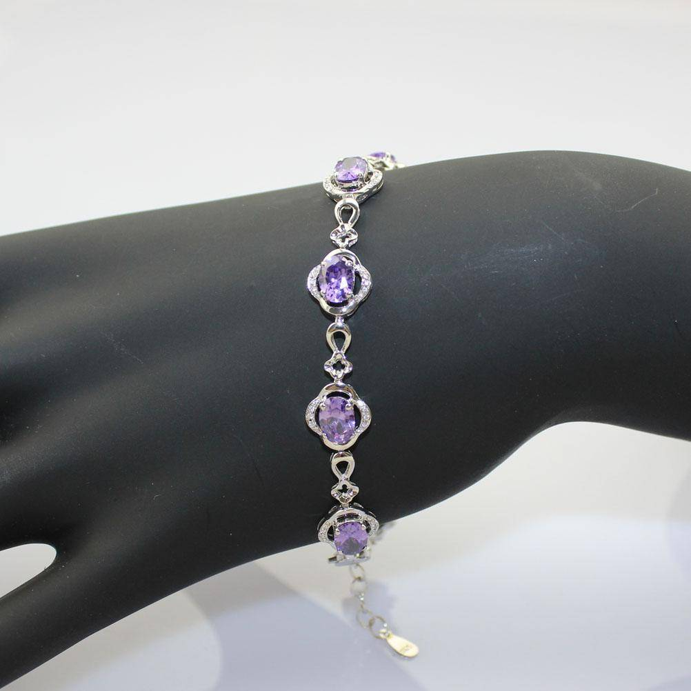 925 Silver Chain Bangle with Amethyst Cubic Zircon (H08)
