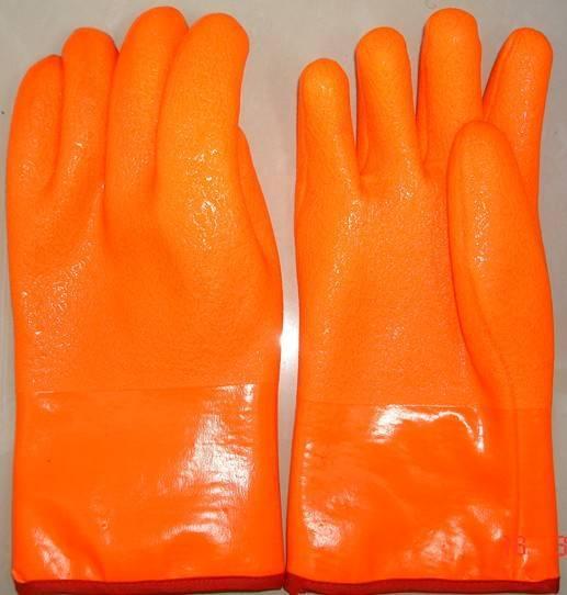 Fluorescent single dipped PVC work glove,sandy finish 30cm