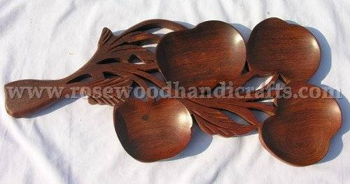 Grapes Shape Wooden Dry Fruit Tray /Wooden Fruit Trays / Rosewood Fruit Trays