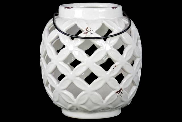 Ceramic Bellied Lantern with Diagonal Cutout Design and Metal Handle