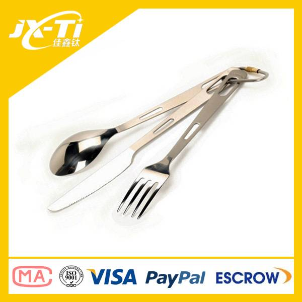 Three pieces Titanium cutlery set spoon, fork, knife