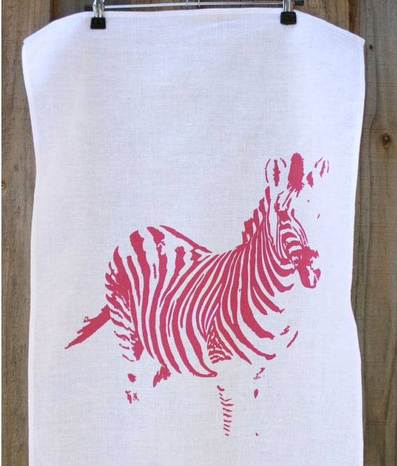 Linen Zebra printed tea towel dish towel cloth