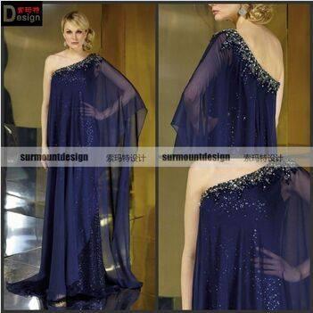 CH1998 Surmount Beautiful one shoulder flowy chiffon pregnant evening dress for fat women