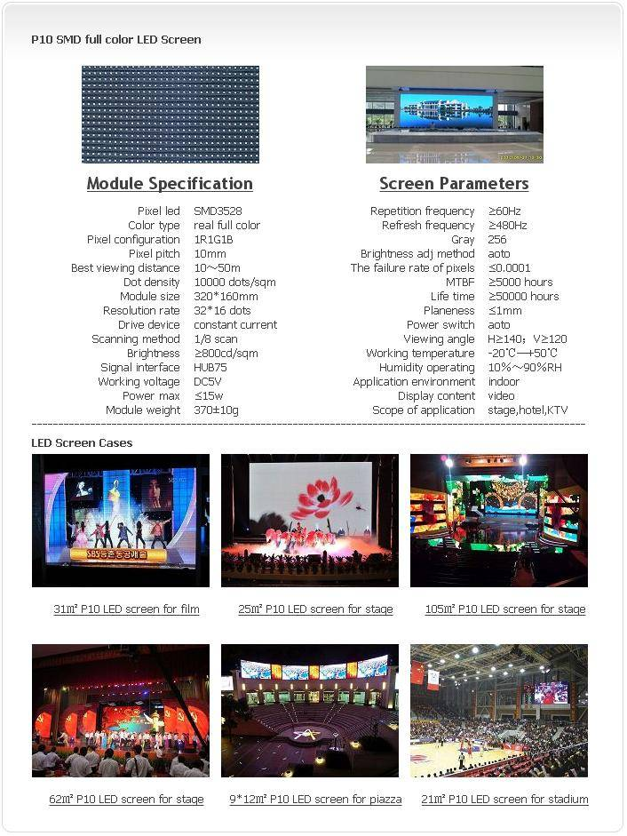 Selling Indoor P10 SMD 1R1G1B LED screen