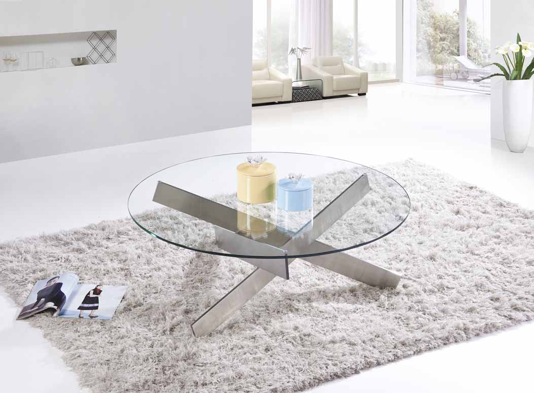 MS-3352 SHIMING FURNITURE MS-3352 Modern design glass round top coffee table with stainless steel