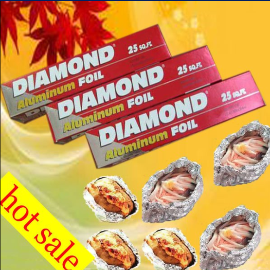 Diamond heavy duty food grade aluminium foil roll with color box for kitchen cooking