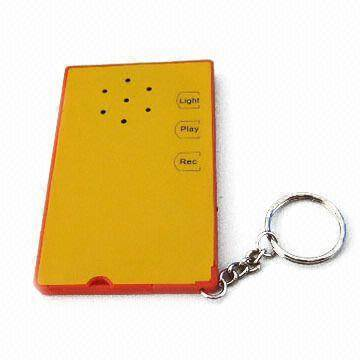 recordable keychain with Built-in Flashlight, Available in Various LED Light Colors