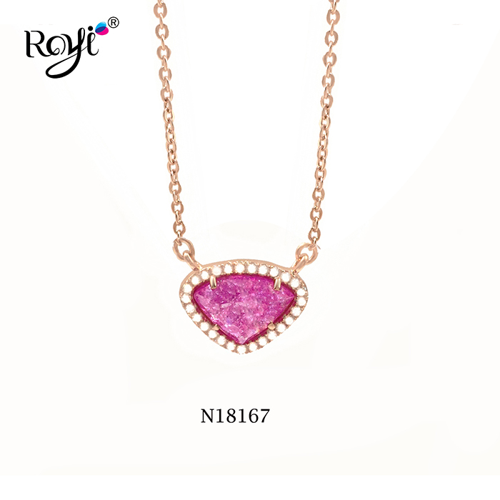 925 Silver Rose Plating Necklace