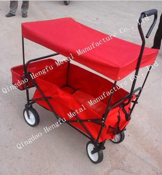 Folding Utility Wagon Garden Cart Heavy Duty Steel Frame Yard Lawn Beach