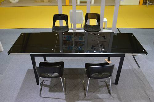 Modern tempered glass top expandable dining table HX-02