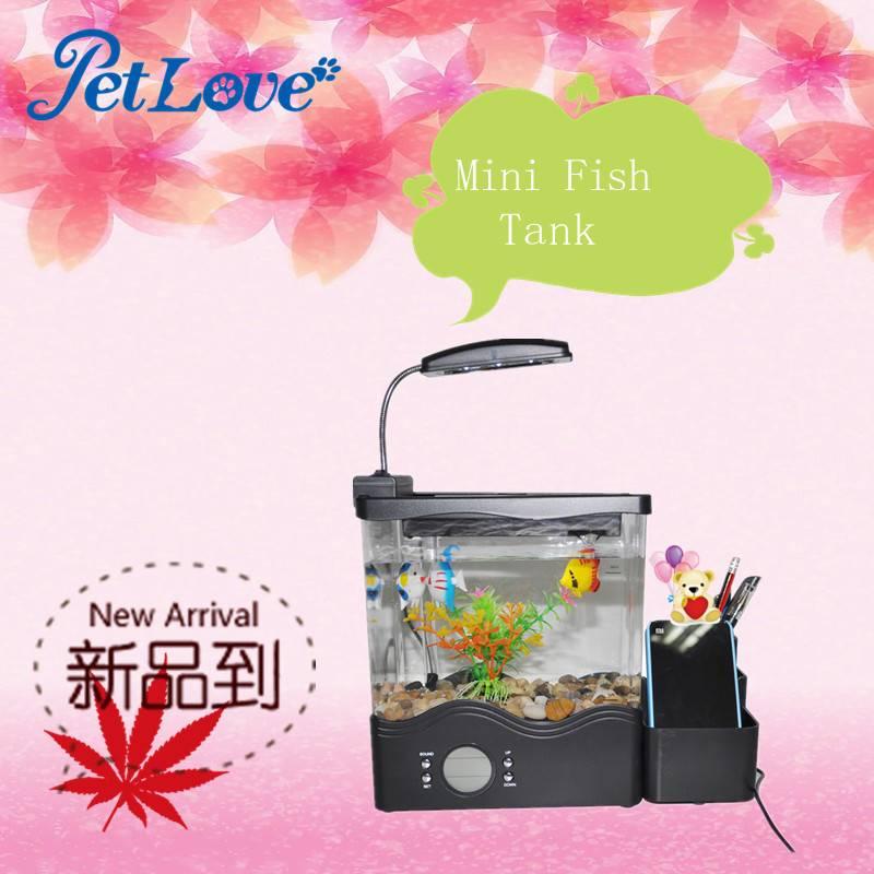 Mini USB Powered LCD Desktop Lamp Light Mini Fish Tank Aquarium with LED Clock for Home Office Use