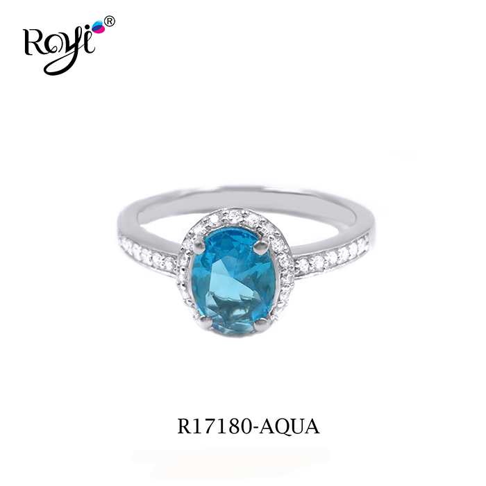 Hot Sale 925 Sterling Silver Rings with aqua stone