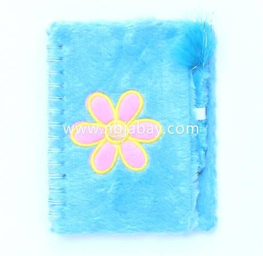 flower plush journal with ball pen