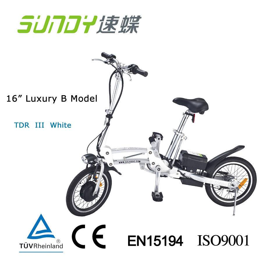 16 Shimano Gear Folding Electric Bicycle-White