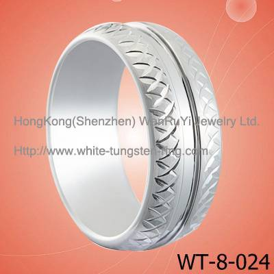 Cool Men's Engraved White Gold Plated Tungsten Ring