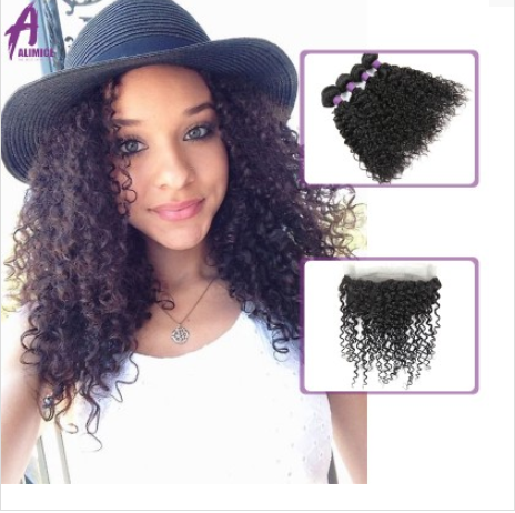 [9A]4 Bundles Peruvian Hair Weave Water Wave with 360 Lace frontal