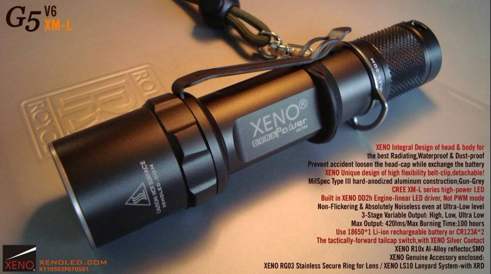 Outdoor use, Tactical LED Flashlight, XENO G5