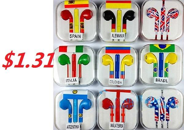 3.5MM Stereo Colorful World Cup Mobile Phone Earphone with Microphone