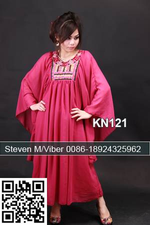 Red Embroidery Stones Beaded Abaya Caftans Bat Sleeves Maxi Dress