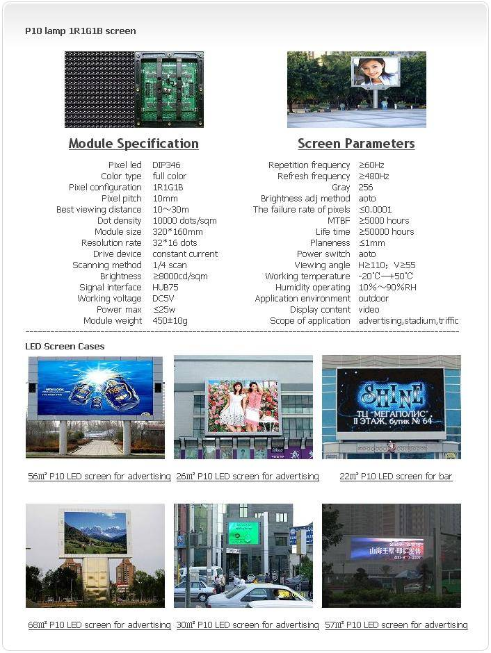 Selling Outdoor P10 LAMP 1R1G1B LED screen
