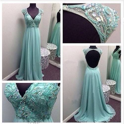 RUSTIC A-LINE CHIFFON LACE WITH BEADING&RHINESTONES BACKLESS SWEEP TRAIN BRIDESMAID DRESS RB3001