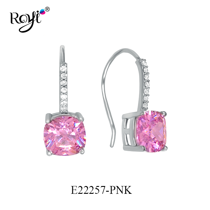 Latest 925 Sterling Silver Pink Colorful Earring