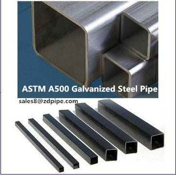 ASTM A500 hot dipped galvanized square steel pipe