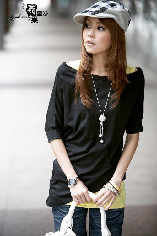 Girls Shirts Black Shirt Casual Wear Cotton Black Irregular Bottom Shirt