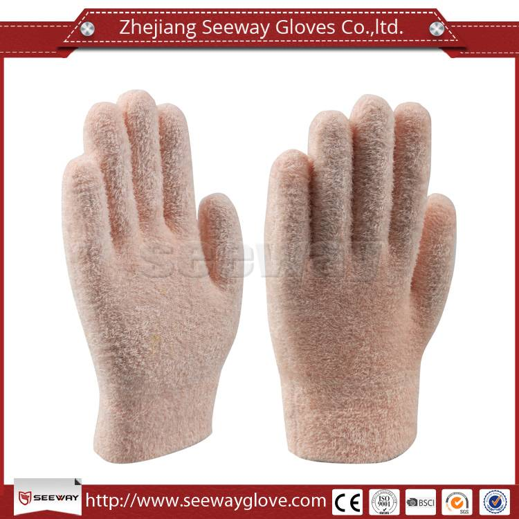 Seeway Top Class Quality Woman Beauty Pink Feather Yarn Gloves Magic Winter Warm Gloves
