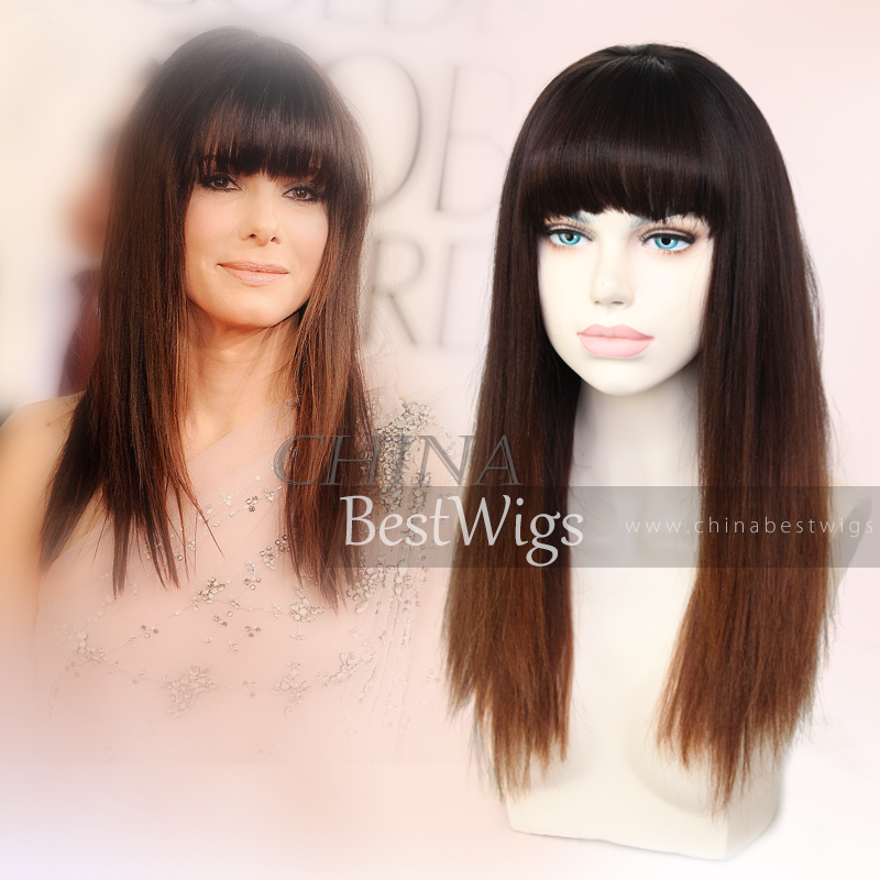 ombre virgin hair wig with bang
