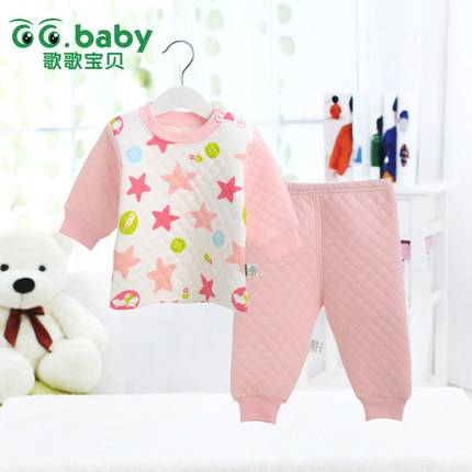 Cute Stars Cotton Autumn/Winter Baby Clothing Set Warm Baby Boy Girl Clothes Suit Newborn Babies