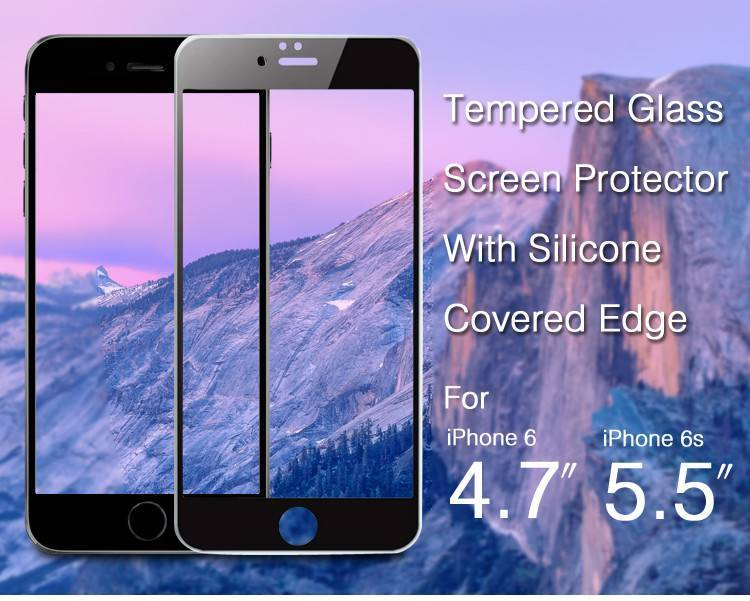 Newest product 0.3mm 2.5d 9h silicone covered edge tempered glass screen protector for iphone 6
