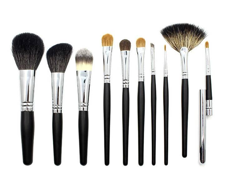 10 pcs professional makeup brush set cosmetic brush set with goat hair