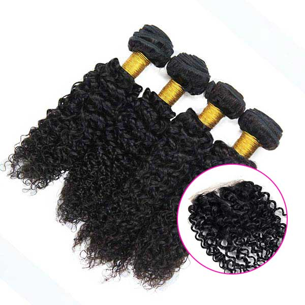8A Indian Jerry Curly Human Virgin Hair Weave 4 Bundles With Lace Closure