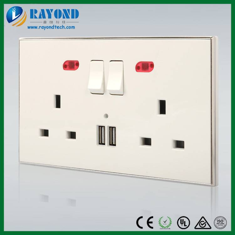 UK Standard Duplex Switched Power Socket with 2-Port USB Charger