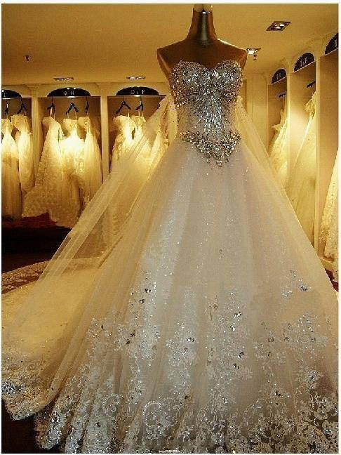 2014 Hot Sale New Custom Made White Satin Tulle Lace Applique Beading Wedding Dress Bridal Gown