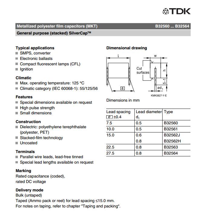 In stock epcos capacitors B32562H8224J000