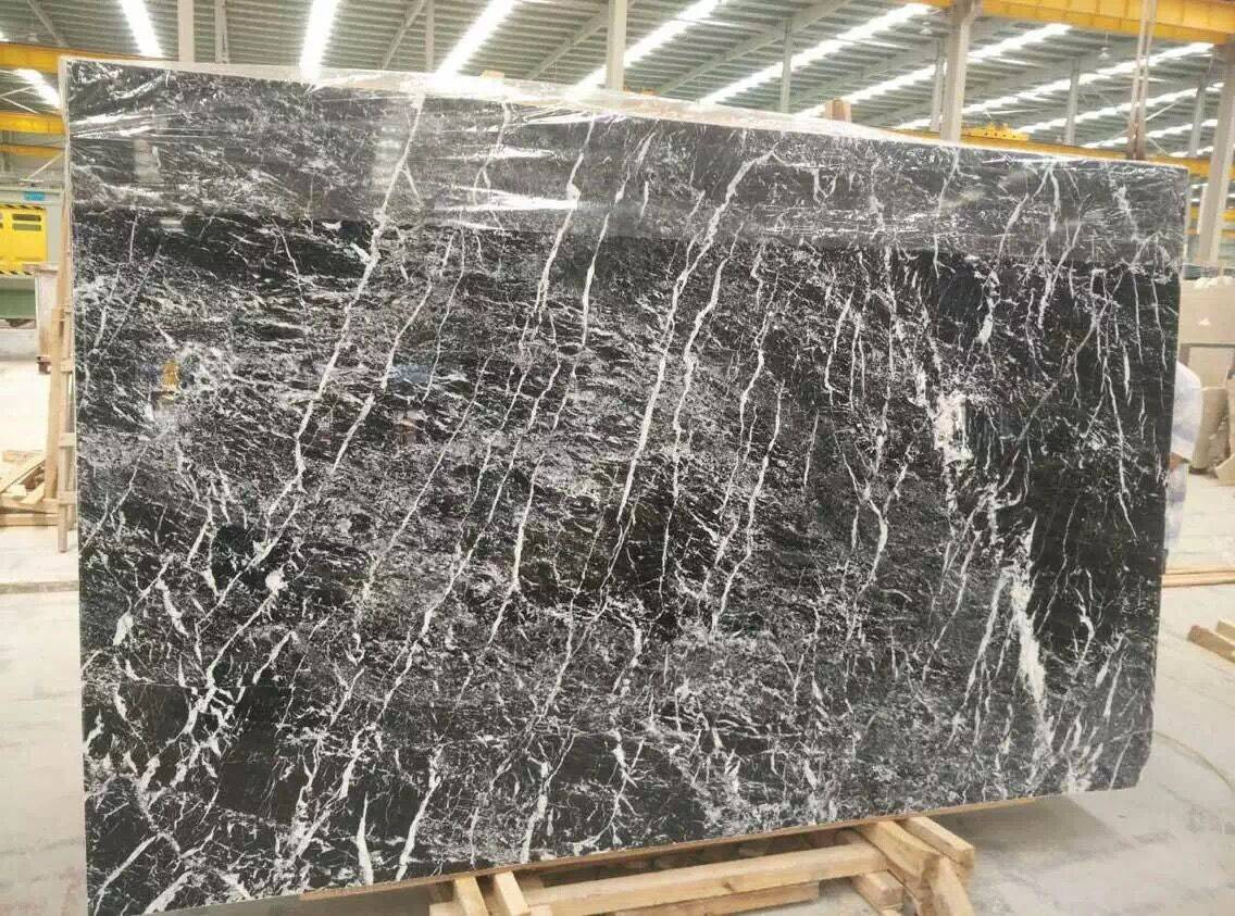 Forest Snow black marble natural stone product slab