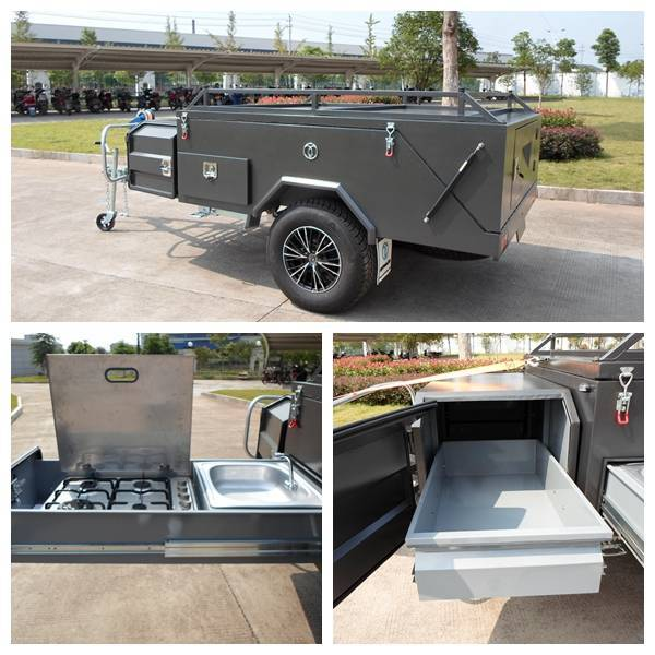 Off road backward folding hard floor camping trailer checker plate steel with slide tray stove